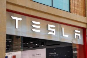 Tesla logo sign