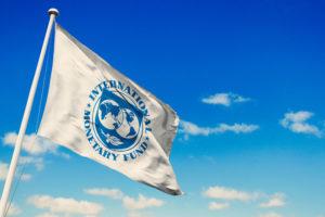 IMF flag with blue skiy background.