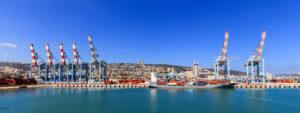Panoramic View of the city of Haifa port.